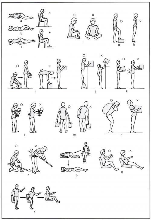 できるだけ腰に負担がかからない姿勢に注意しましょう。